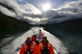 Rib cruising on the Nordfjord, starting out from Olden with a view of steep mountains, glaciers, Loen and Stryn