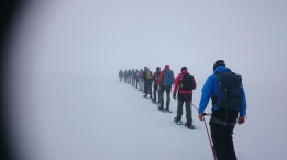 some days are foggy, but still great. It´s an exiting feeling, but you´re safe with our guides from Briksdal adventure