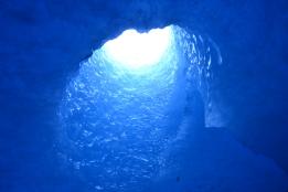 glacier tunnel under the bodalsglacier