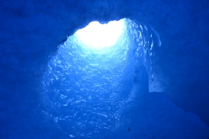 glacier tunnel under the bodalsglacier