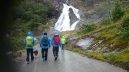 Heading down from the Briksdal glacier in Olden, passing the waterfall. Guides from Briksdal adventure