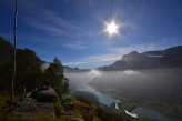 what an amazing scenery we have here in fjord Norway, this is the view towards Oldedalen, sunde and parts of the Jostedalsglacier