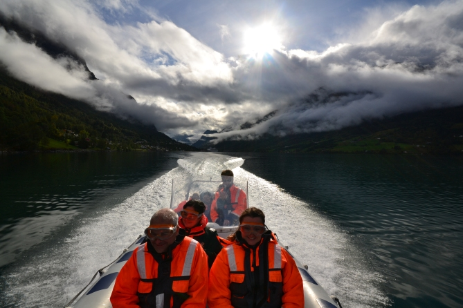 rib cruising in Olden on the Nordfjord on our way to Stryn