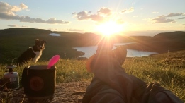 guide relaxation after a hard days of work. Our guiding dog Storm is checking out the sunset over Olden, Destination Nordfjord